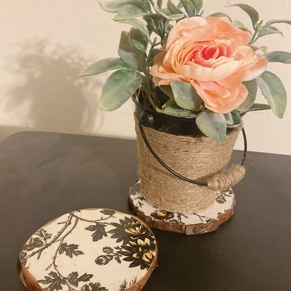 Faux Flower in Bucket with Matching Coasters